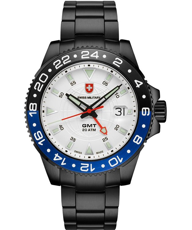 CX Swiss Military GMT NERO Swiss 42mm watch PVD Case 2nd Timezone Silv dial 2775