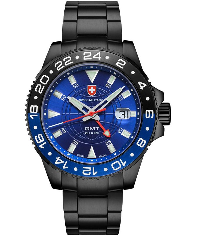 CX Swiss Military GMT NERO Swiss 42mm watch PVD Case 2nd Timezone Blu dial 2777