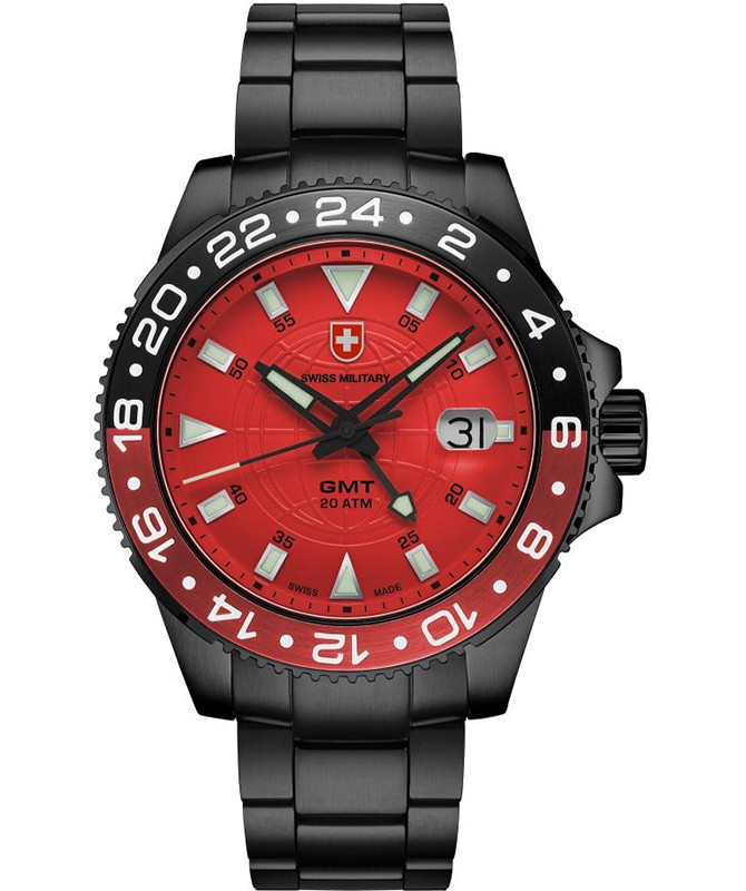 CX Swiss Military GMT NERO Swiss 42mm watch PVD Case 2nd Timezone Red dial 2778