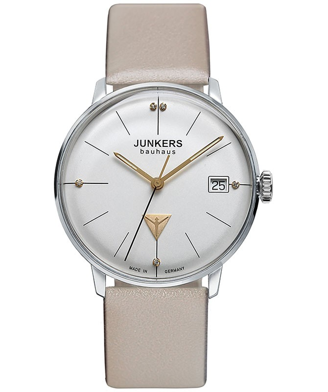 JUNKERS BAUHAUS LADY SWISS QUARTZ WATCH LEATHER STRAP SWAROVSKI SILV DIAL 6073-5