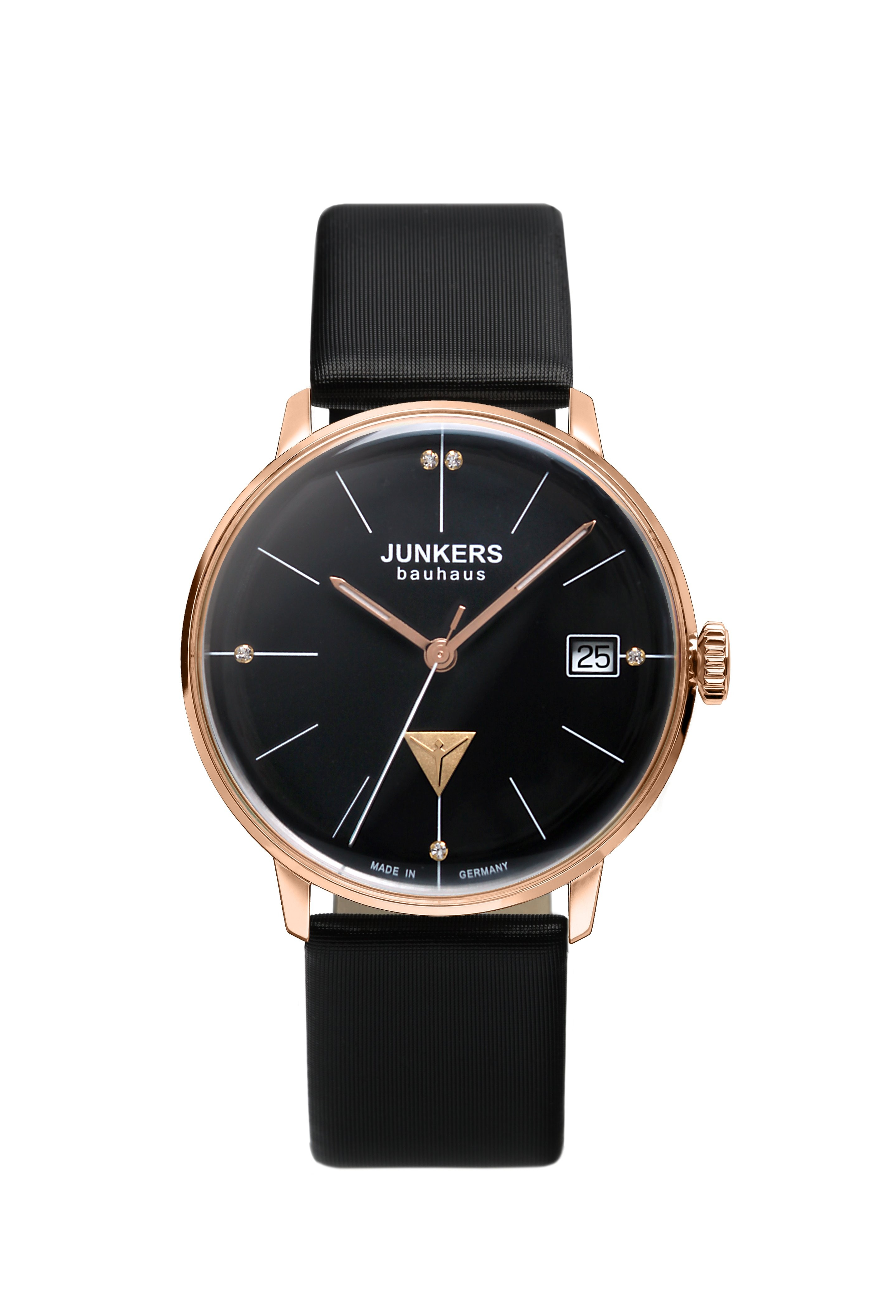 JUNKERS BAUHAUS LADY SWISS QUARTZ WATCH ROSE GOLD CASE BLACK DIAL 6075-2