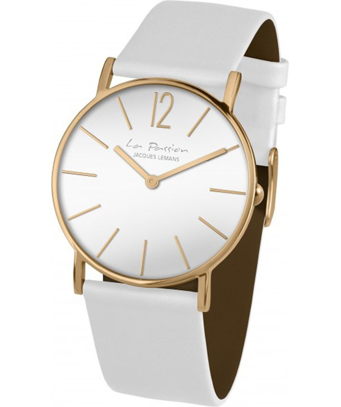 JACQUES LEMANS 'La Passion' Minimalist Quartz Watch 5ATM 40mm R/G Case Wht Dial