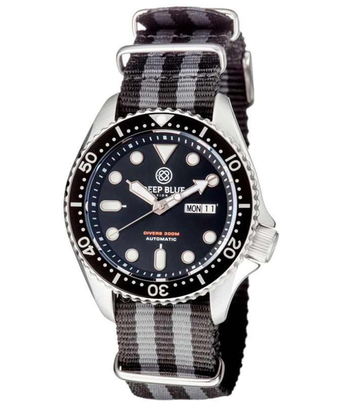 Deep Blue NATO DIVER 300 Automatic watch 44mm S/Steel case Nylon strap Black dial