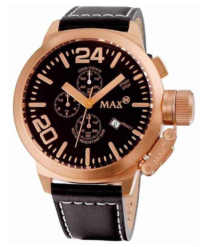 MAX WATCH THE CLASSIC CHRONO 5ATM BLACK DIAL IP ROSE CASE 47mm DIAMETER 5-MAX322