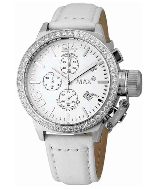 MAX WATCH THE CLASSIC CHRONO 5ATM WHITE CZ DIAL S/STEEL CASE 42mm DIAM 5-MAX419