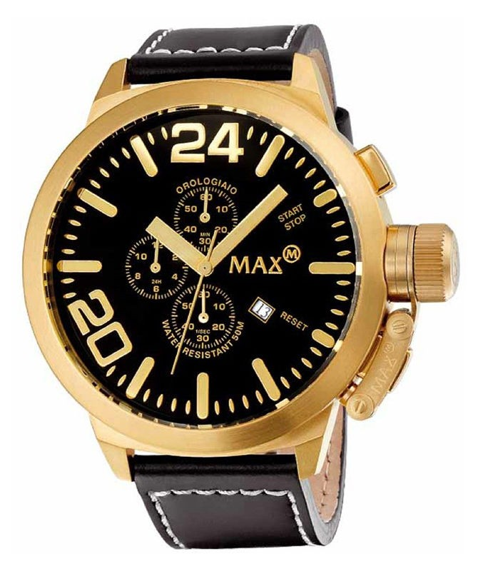 MAX WATCH THE CLASSIC CHRONO 5ATM BLACK DIAL IP GOLD CASE 47mm DIAMETER 5-MAX323