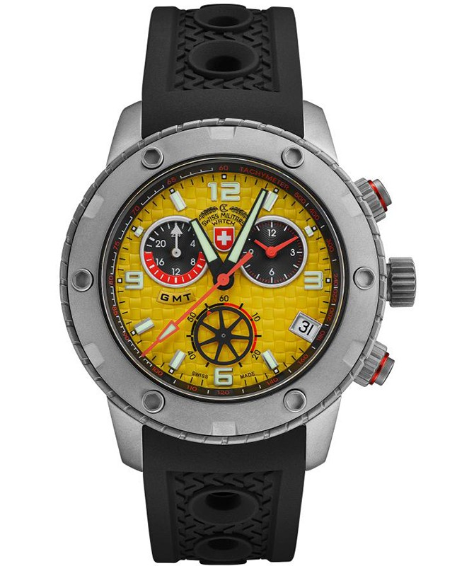 CX Swiss Military RALLYE GMT 44mm Swiss Chrono watch GMT 20ATM Yellow dial 2749