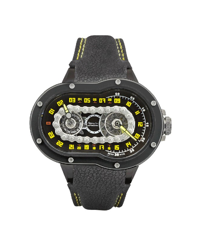 Azimuth CRAZY RIDER Automatic Watch Motorcycle Engine design Blk PVD Case/Bezel