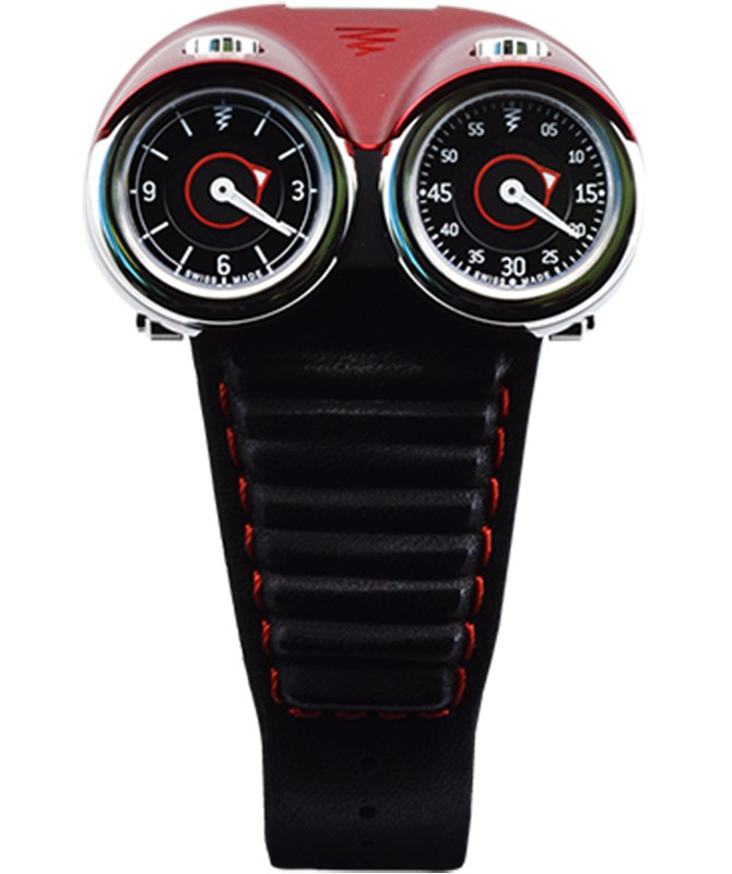 Azimuth TWIN TURBO mechan. watch Racing car theme 2 Time zones Red bonnet LTD ED