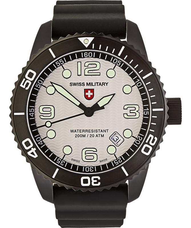 CX Swiss Military MARLIN SCUBA NERO Swiss watch 20ATM Sapphire Silver dial 2705