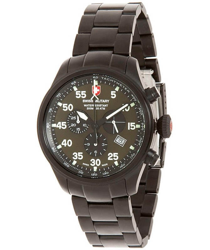 CX Swiss Military HAWK NERO Chrono Swiss watch Black PVD case Olive dial 2732