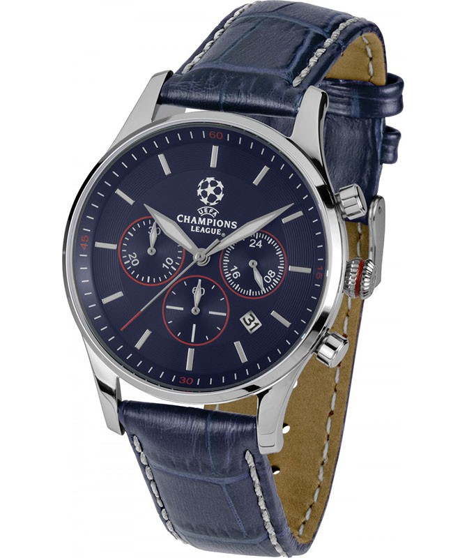 JACQUES LEMANS Quartz Chronograph Sports Watch UEFA 40mm SS Case 10ATM Blu Dial