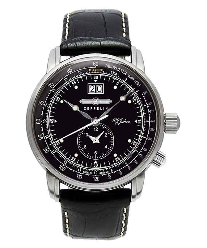 ZEPPELIN 100 Years Swiss quartz Big date Dual time 50m WR 42mm Black Dial 7640-2