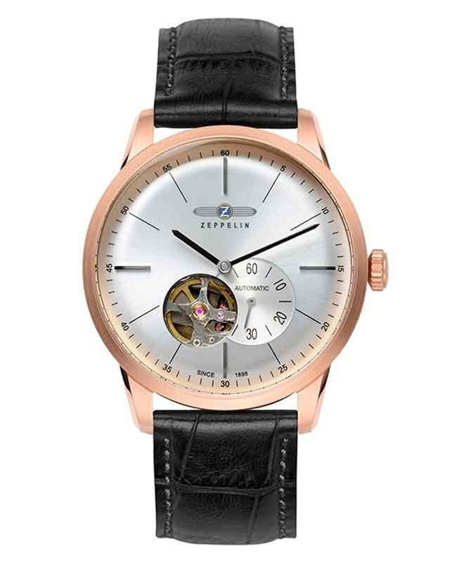 ZEPPELIN Flatline Mens watch Automatic Open Heart R/Gold case Silv Dial 7362-4