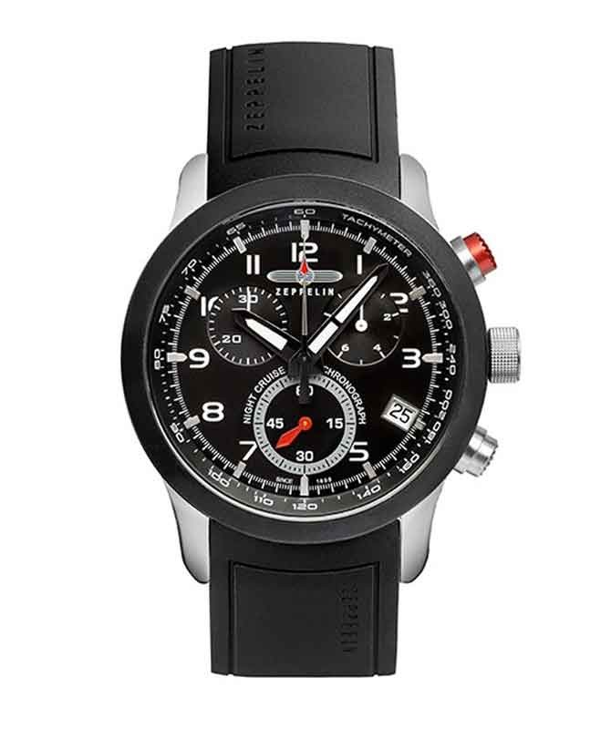 ZEPPELIN Night Cruise German watch Swiss Quartz Chrono 1/10s Black dial 7292-2