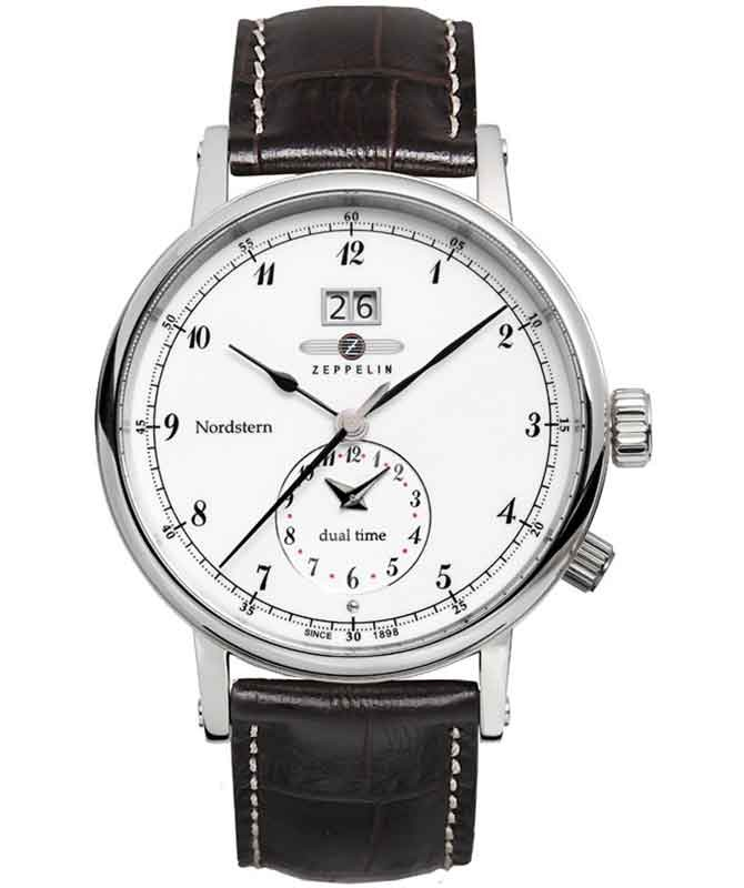 Zeppelin Nordstern Swiss quartz watch 41mm BIG date Dual time White Dial 7540-1