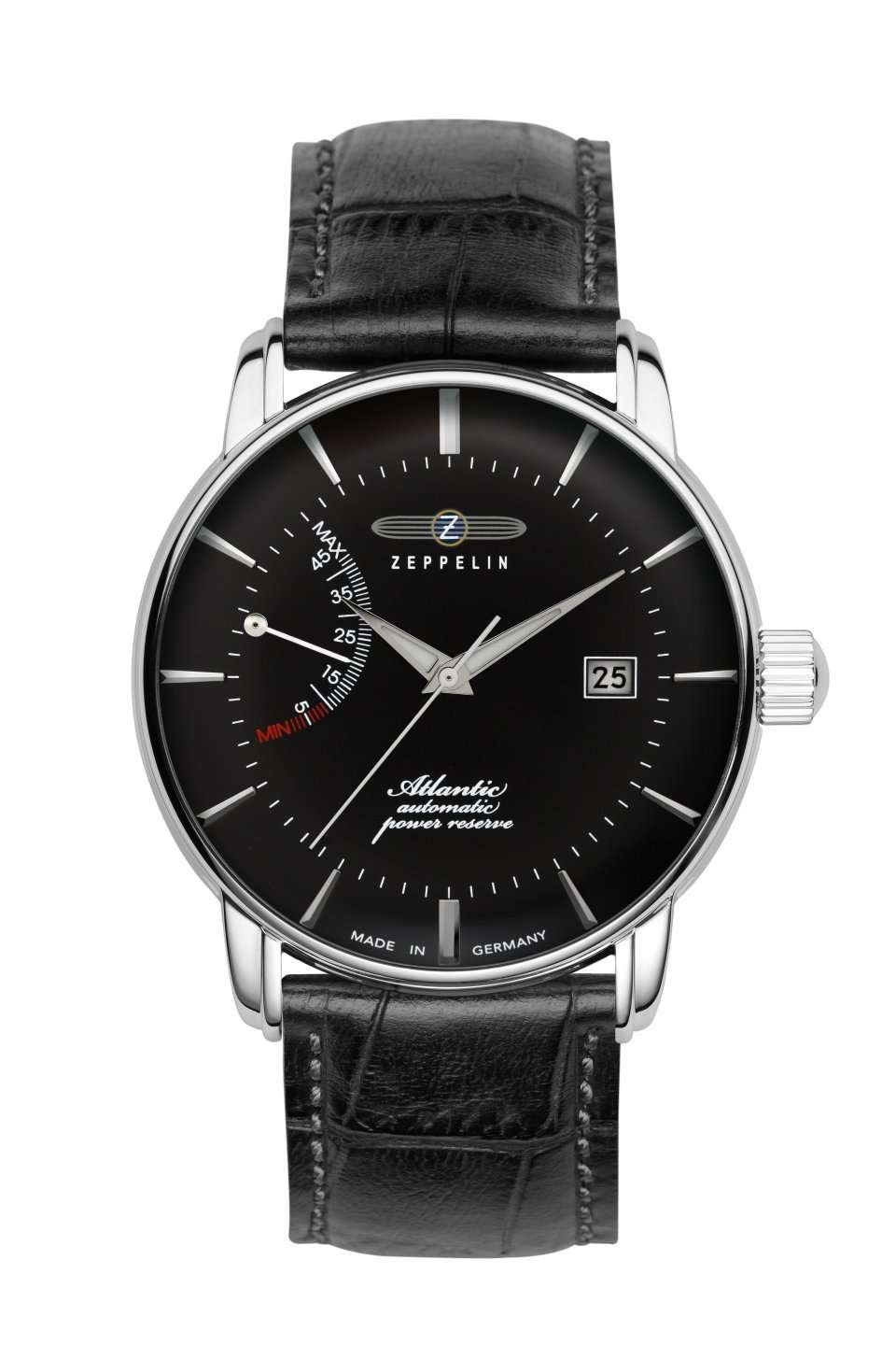 Zeppelin Atlantic Automatic Watch 42mm Pwr Reserve Date Clear Back Black Dial 8462-2