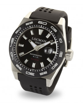 LOCMAN Watch Stealth 300M Time Automatic 46mm Case 30ATM Black Strap Black Dial