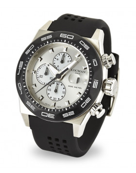 LOCMAN Watch Stealth 300M Quartz Chronograph 46mm Case 30ATM Blk Strap Silv Dial