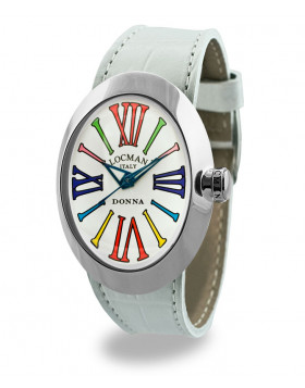 LOCMAN Watch Change Donna Time Quartz Movt 5ATM 34mm White Dial Colored Numbers