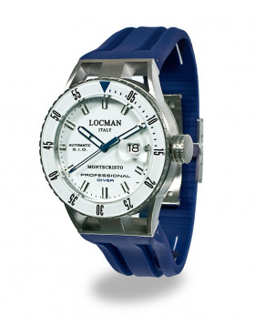 LOCMAN Watch Montecristo Automatic Diver 44mm Case 12ATM Blue Strap White Dial