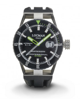 LOCMAN Watch Montecristo Automatic Diver 44mm Case 12ATM Black Strap Black Dial