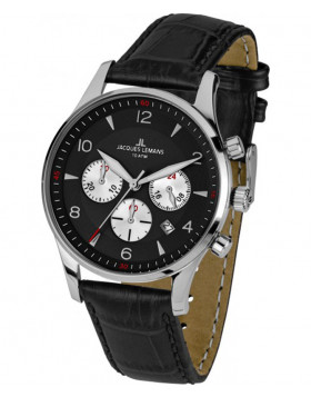 JACQUES LEMANS 'Classic' Chronograph Date Watch 10ATM 40mm Case Blk Strap & Dial