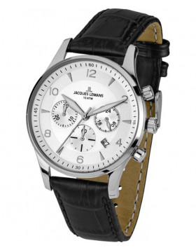 JACQUES LEMANS 'Classic' Chronograph Date Watch 10ATM 40mm Case Wht Strap & Dial