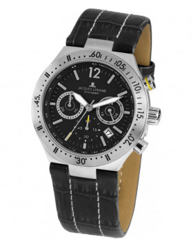 JACQUES LEMANS Sports 'Dover' Quartz Chronograph Date Watch 42mm Case Black Dial
