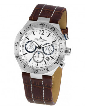JACQUES LEMANS Sports 'Dover' Quartz Chronograph Date Watch 42mm Case White Dial