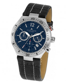 JACQUES LEMANS Sports 'Dover' Quartz Chronograph Date Watch 42mm Case Blue Dial