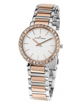 JACQUES LEMANS Classic Milano Ladies Watch 32mm R/Gold Swarovski Bezel Wht Dial