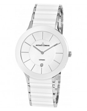 JACQUES LEMANS Classic 'Dublin' Watch 40mm Ceramic Strap Sapphire Glass Wht Dial