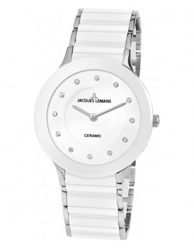 JACQUES LEMANS Classic Dublin Ladies Watch 32mm Sapphire Ceramic Strap Wht Dial