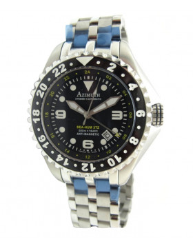 SWISS AZIMUTH XTREME-1 SEA-HUM 3TZ WATCH SS BRACELET 3 TIME ZONE 500m WR BLACK