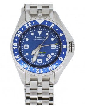 AZIMUTH XTREME-1 SEA-HUM 3TZ WATCH SS BRACELET 3 TIME ZONE 500m WR BLUE
