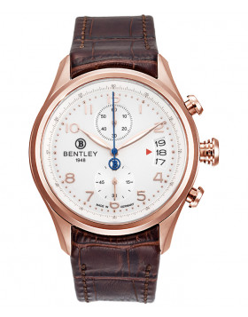 BENTLEY 'Aviator' Quartz Date Chronograph Watch 43mm Rose Gold Case Silver Dial