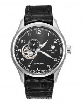 BENTLEY 'Aviator' Automatic Watch Open Heart 43mm S/S Case Black Strap & Dial