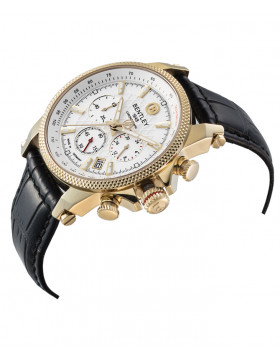 BENTLEY 'Racing' Quartz Chronograph Tachy Date Watch 43mm Gold Case White Dial