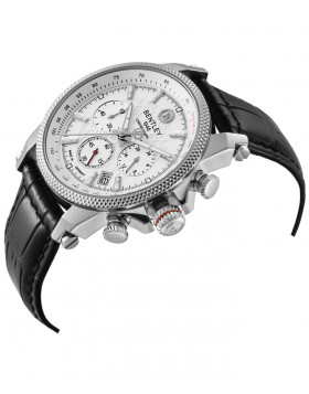 BENTLEY 'Racing' Quartz Chronograph Tachymeter Date Watch 43mm Case White Dial