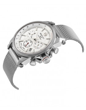 BENTLEY 'Racing' Quartz Chronograph Watch 43mm SS Case Mesh Strap Silver Dial