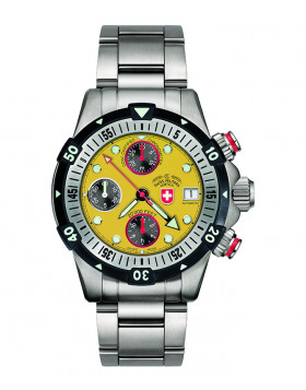 CX SWISS MILITARY 20000 feet DIVING WATCH WORLD RECORD VALJOUX 7750 COSC YELLOW
