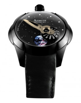 Azimuth Spaceship Earth Watch Rotating Earth Mystery Jump Hour PVD Case Blk Dial