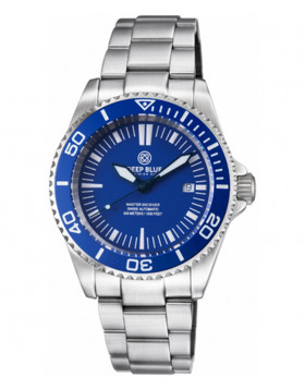 Deep Blue Master 500 Automatic Diving Watch 42mm Swiss Movement Blu Bezel & Dial