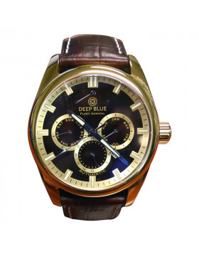 DEEP BLUE FLEET ADMIRAL WATCH AUTO FULL CALENDAR 100m WR GOLD CASE BLACK DIAL