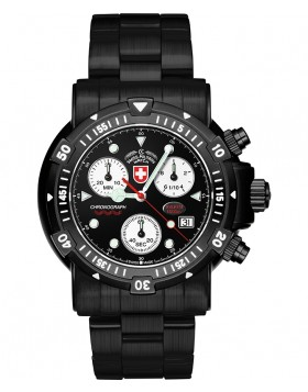 CX SWISS MILITARY DIVERS SW1 NERO WATCH ETA CHRONO 100ATM BLACK DIAL