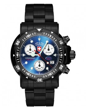 CX SWISS MILITARY DIVERS SW1 NERO WATCH ETA CHRONO 100ATM BLUE DIAL