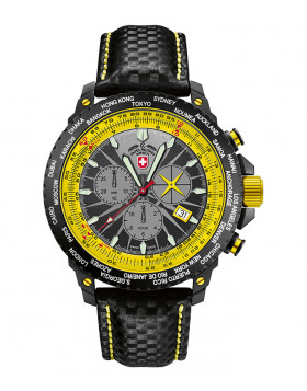 CX SWISS MILITARY HURRICANE WORLDTIMER RAWHIDE WATCH SLIDERULE BEZEL YELLOW DIAL