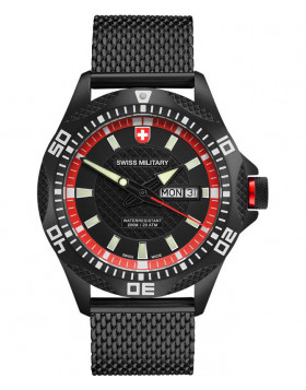 CX Swiss Military TANK NERO Day/Date watch PVD case/bracelet Black/Red dial 2741