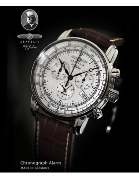 ZEPPELIN 100 YEARS CHRONO ALARM WATCH SWISS MOVEMENT 50M WR SILVER DIAL